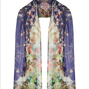 Camilla Maikos Midnight Silk Embellished Scarf